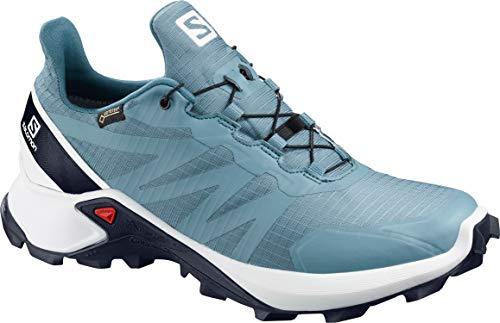 SALOMON Supercross GTX Trail Running Shoes Womens Sz 7 Bluestone/White/India Ink (Best Running Shoes India)