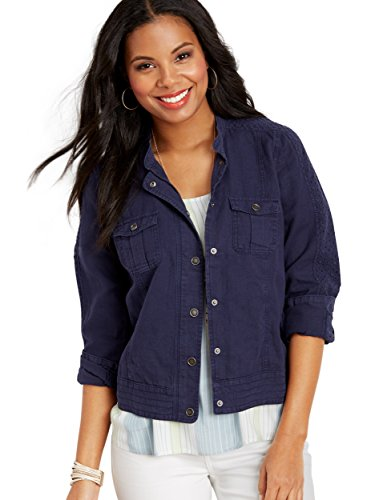 maurices Women's Linen Eyelet Sleeve Jacket X Large Blue Jasmine