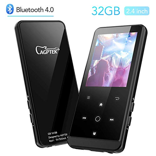 AGPTEK 32GB MP3 Player with Bluetooth, Portable Music Player 2.4 Inch HD Screen with Touch Buttons, Support AirPods Connection, FM Radio, FM Recording, Expandable up to 128GB Antenna Included