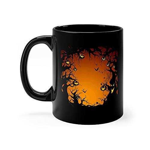 (Spooky Tree Border Halloween Express Coffee Awesome Mugs Cups Ceramic)