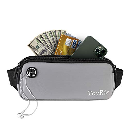 ToyRis Outdoor Running Belt Fanny Pack Waist Bag Pack Lightweight Runner bag with Adjustable Belt Strap for Women Men Hiking Cycling & Dog Walking Fits All Kinds of Phones (GREY)