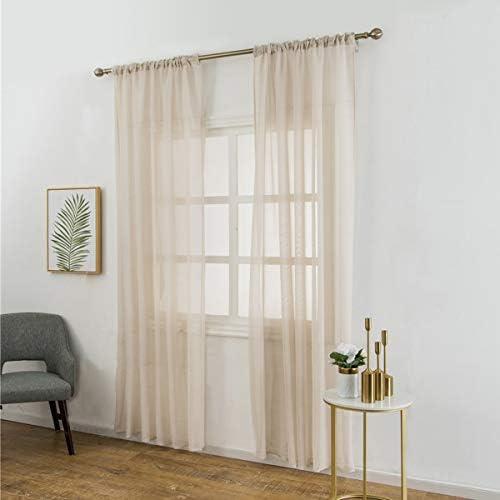 Vosarea, tenda in voile di cotone e lino, per camera da letto, soggiorno, 100 x 200 cm, colore: beige