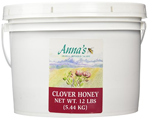 Clover Honey, 12 lb Bulk Pail - Gourmet, Pure Honey - by Anna's (Annas Honey)