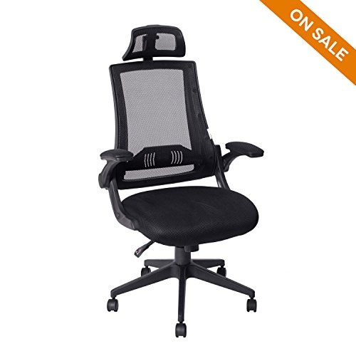 LCH High Back Mesh Office Chair - Adjustable Tilt Angle, Flip-Up Arms, Lumbar Support and Headrest Computer Desk Task Chair, Black by HLC