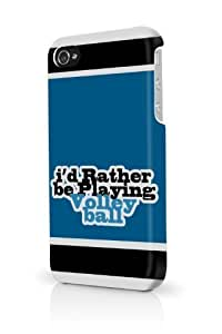 Blue Id Rather Be Playing Volleyball iPhone 5 & 5S - Fits iPhone 5 & 5S Full Print Plastic Snap On Case