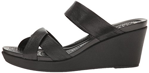 crocs Women's leighann Leather Wedge Sandal, Black/Black, 7 M US by Crocs (Image #5)