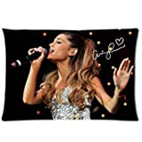 Soft Zippered Pillowcase Pillow case Cover 16x24 Inch (Twin sides) Singing Ariana Grande Yours Truly Music Signature Pattern CMF_001