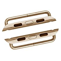 LUVVITT Stainless Steel Adapter for Apple Watch 42mm Band Connector, Apple Watch Buckle, Apple Watch Clasp, Comparable to Click - 42mm Gold