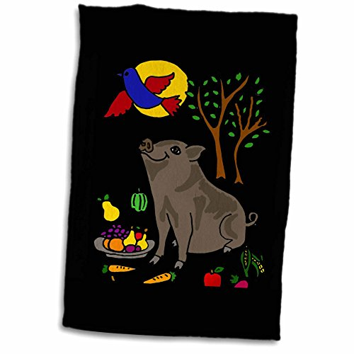 3drose-all-smiles-art-animals-funny-grey-pot-bellied-pig-with-food-and-bluebird-overhead-12x18-towel