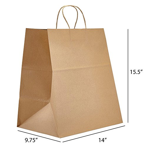 PTP - 14'' x 9.75'' x 15.5'' Natural Kraft Paper Gift Tote Bags - 200 count| Perfect for Birthdays, Weddings, Holidays and All Occasions | White or Natural Colors | Multiple Sizes by Prime Time Packaging Ltd (Image #2)'