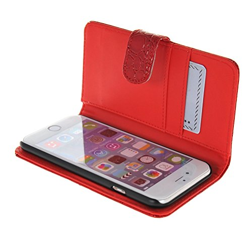 MOONCASE Leder Tasche Flip Case Cover Schutzhülle Etui Hülle Schale für Apple iPhone 6 ( 4.7 inch ) Rot