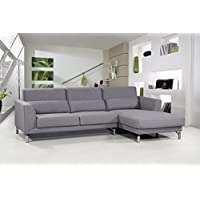 US Pride Furniture Aria Fabric Facing Right Chaise Modern Sectional Sofa Set, Grey