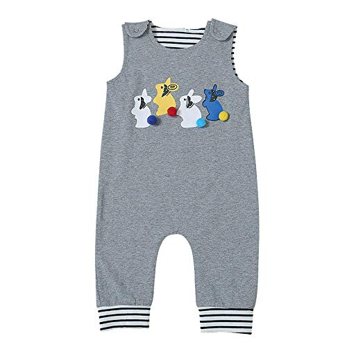 Baby Girls Boys Easter Romper Infant Cute Rabbit Jumpsuit Clothes Sleeveless Outfits Bunny Bodysuit,0-24 Months (80(6-12 Months), Romper Grey)