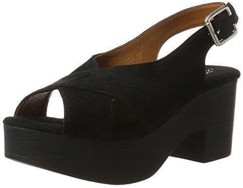 Noir Heel Suede Biz Black Compensées Shoe Sandales Femme Ux4qaawn