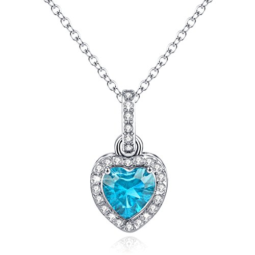 Heart Necklace Halo Diamond Aquamarine Pendant Blue March Birthstone Jewelry Women Valentine's Day Gift