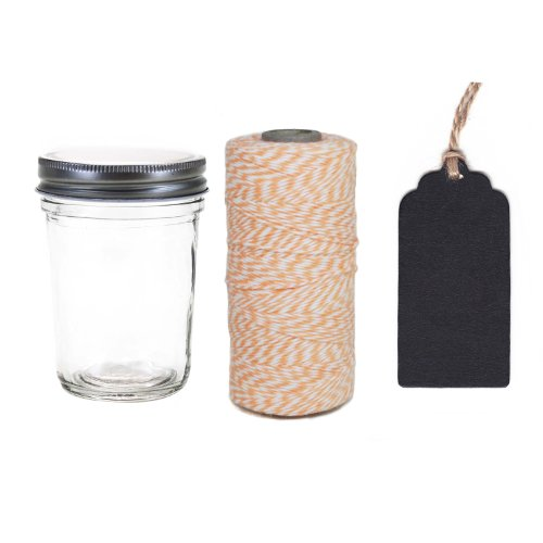 Dress My Cupcake 12-Pack Favor Kit, Includes Vintage Glass Half Pint 8-Ounce Mason Jars and Twine/Chalkboard Gift Tag, Coral Peach