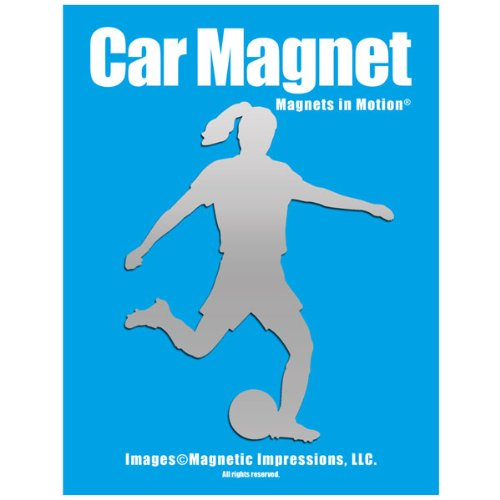 Soccer Player Female Car Magnet Chrome - Female Refrigerator Magnet