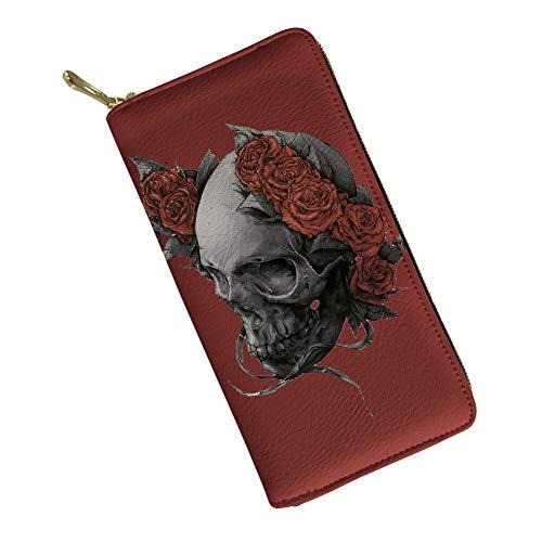(Sugar Skull Wallet for Women Clutch Zipper Credit Card Holder Case Gift Purse,Red)