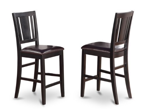 East West Furniture BUS-BLK-LC Counter Height Chair Set with Faux Leather Upholstered Seat, Black Finish, Set of 2