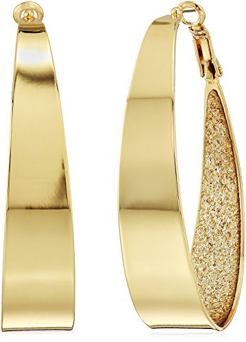 Guess Large Oval Glitter Gold Hoop Earrings