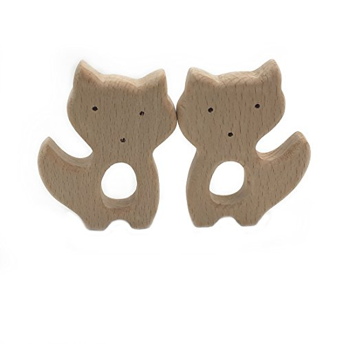 Amyster 2pcs Handmade Wooden Teether Fox Pendent Organic Natural Beech Wooden Toy Hand Cut Animal DIY Jewelry Making Accories