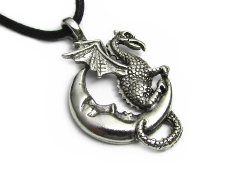 Midnight Dragon Pewter Pendant On Corded Necklace, The Celestial Collection Pendant Corded Necklace