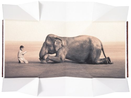 Boy reading to elephant (fold out book) (Ashes and Snow Posters) -
