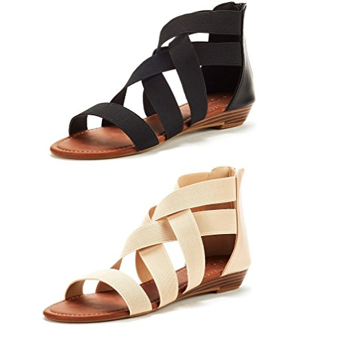 DREAM PAIRS Women's ELASTICA8 Black and Nude (2 Pairs) Elastic Ankle Strap Low Wedges Sandals Size 8 M US - Heel Gladiator Sandals