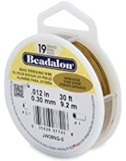 Beadalon 19-Strand Bead Stringing Wire, 0.012-Inch, Satin Gold, 30-Feet