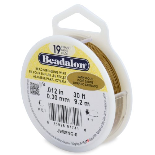 Beadalon 19-Strand Bead Stringing Wire, 0.012-Inch, Satin Gold, 30-Feet ()