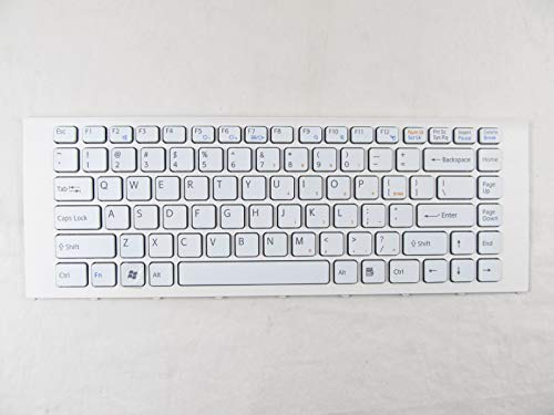 New Keyboard for Sony Vaio VPC-EA24FM VPC-EA36FM VPC-EA46FM US White Keyboard with Frame + Clear Protector -