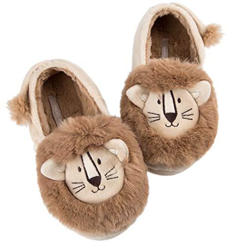 HALLUCI Women's Cozy Fleece Memory Foam House Trick Treat Halloween Slippers (7-8 M US, The Lion King Closed Back) ()