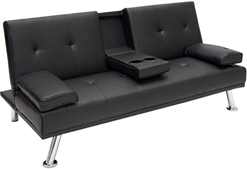 Entertainment Convertible Futon Sofa Bed with Cup Holder Couch Recliner  Lounger Sleeper Home Living Room Bedroom Apartment Studio Modern Space  Saving ...