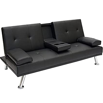 Amazon.com: Entertainment Convertible Futon Sofa Bed with Cup Holder ...