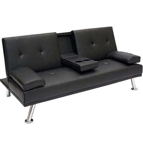 Entertainment Convertible Futon Sofa Bed With Cup Holder Couch Recliner Lounger Sleeper Home Living Room Bedroom Apartment Studio Modern Space Saving Furniture Décor Multifunctional - Galleria Dallas Stores