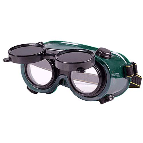 LAIABOR Flip-Up Welding Grinding Goggles Eyes Protection Glasses Industrial Grade Brazing Glasses/Auto Dark/Clear Safety Lenses/Perfect for Oxy-Acetylene Cutting/Weldingand Brazing Projects,Green