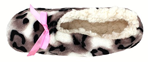 Enimay Imprimé Animal Chaussettes Pantoufles Douces Chaussettes Anti-dérapant Maison Chaussures Beige   Arc Rose - 3