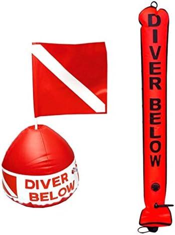 Fenteer 120cm スキューバ ダイビング スノーケル サーフェスマーカ ブイ 信号チューブ インフレータブル ダイブブイ フラグ スノーケル アクセサリー