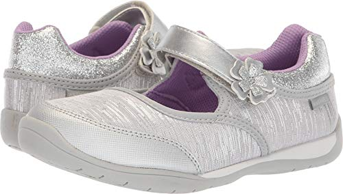 (Stride Rite Made to Play Cassidy Girl's Machine Washable Athletic Sneaker, Silver 2 M US Little)