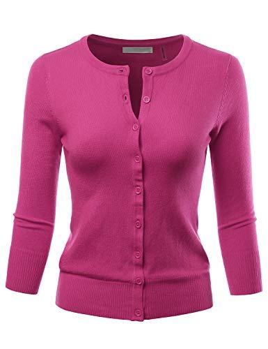 Regina George Costumes (LALABEE Women's 3/4 Sleeve Crewneck Button Down Knit Sweater Cardigan Magenta)