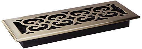 Decor Grates SPH412-A 4-Inch by 12-Inch Scroll Floor Register, Antique Brass