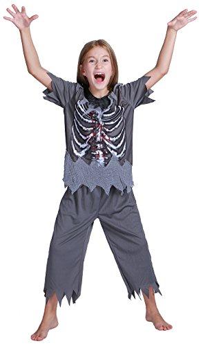 Teen Children's Cospaly Skeleton Suit, Kids Halloween Costume Toy (M) -