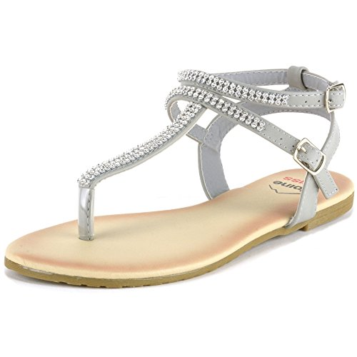 alpine swiss Womens Gray Slingback T-Strap Rhinestone Thong Sandals 11 M US (Gray Rhinestone)