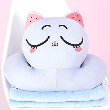 guoguo Almohada para Gatos P La Almohada con Cojines es un artefacto para Dormir de Doble Uso, Grande 45X36Cm, Almohada Azul para Ojos Cerrados para Gatos: ...