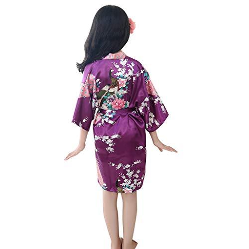 NUWFOR Toddler Baby Kid Girls Floral Silk Satin Kimono Robes Bathrobe Sleepwear Clothes(Purple,2-3 -