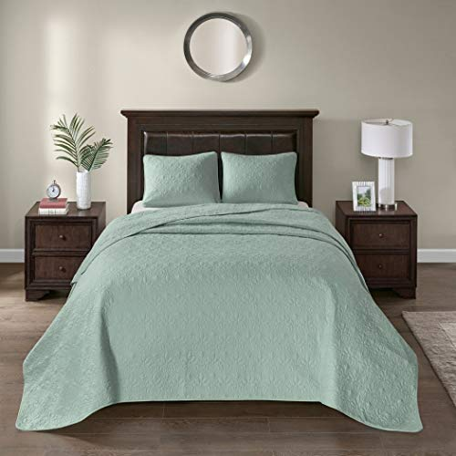 3 Piece Oversized King Bedspread to the Floor Set, Solid Seafoam Green Warm Tone, 120 Inches X 118 Inches, Coverlet Allover Quilt Drops Over Edge of King Beds, Microfiber, Stylish - X 120 Quilt 118 Oversized