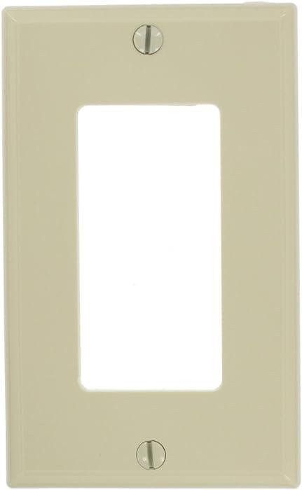 Leviton 80401-NI 1-Gang Decora/GFCI Device Wallplate, Standard Size, Thermoplastic Nylon, Device Mount, Ivory