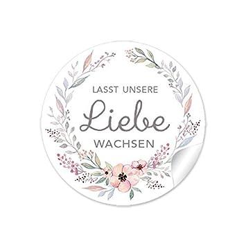 3er Set 3 Bögen A 24 Sticker 72 Aufkleber Lasst Unsere Liebe Wachsen Pastell Farben Mit Blütenkranz Gastgeschenke Zur Hochzeit Samentüten