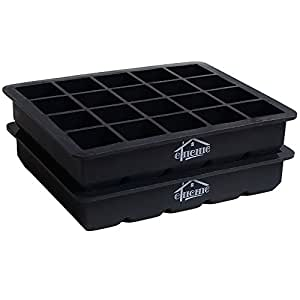 CHICHIC 2 Pack 20 Cavity 1 Inch Silicone Ice Cube Trays, Ice Cube Molds, Flexible Mini Ice Cube Maker, Ice Tray Mold, FDA Certified BPA Free, for Chilling Bourbon Whiskey, Cocktail, Beverages and More