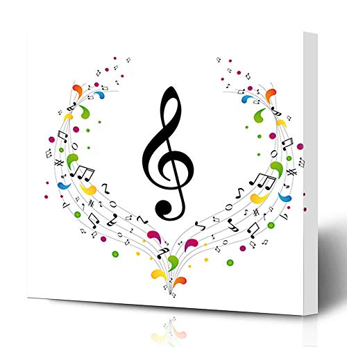 (Ahawoso Canvas Prints Wall Art 12x16 Inches Ornate Key Music Treble Clef Notes Curve Color Sound Flower Staff Paintings Decor for Living Room Office Bedroom)